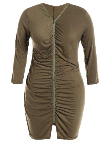 Buy Zip Front Plus Size Ruched Dress