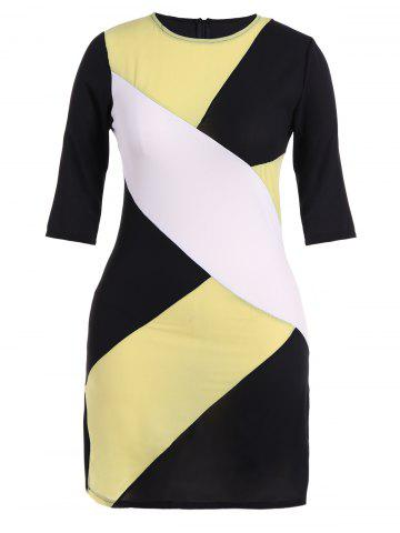 Online Plus Size Color Block Sheath Dress