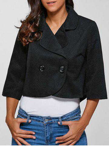 Discount 3/4 Sleeves Buttoned Jacket BLACK M