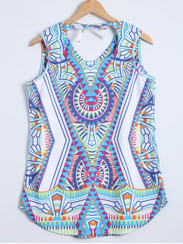 Outfits Print Geometric Sleeveless V Neck  Tank Top