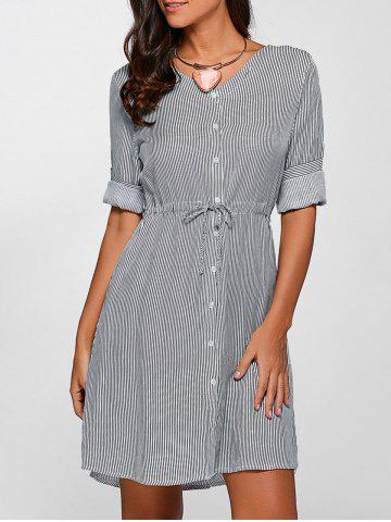 Sale Buttoned Drawstring Striped Dress