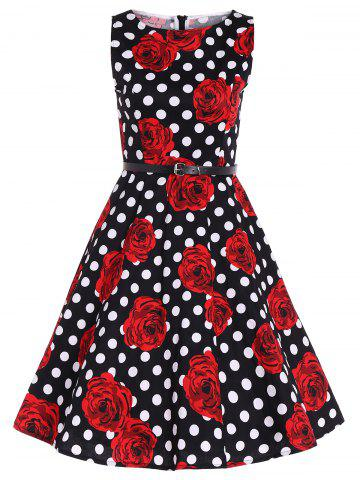 New Zip Back Sleeveless Printed Polka Dot Belted Dress RED 2XL