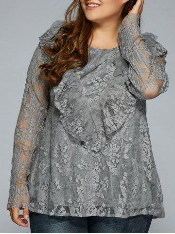 Discount Laciness Flounce Plus Size Blouse GRAY 4XL