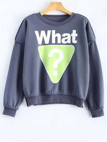 Discount What Graphic Geometric Printed Sweatshirt