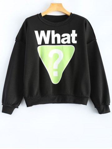 Discount What Graphic Geometric Printed Sweatshirt BLACK L