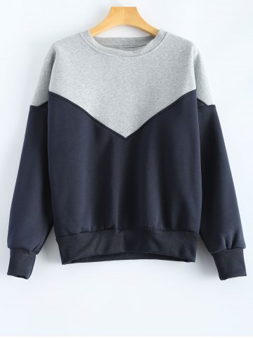 Shops Round Neck Splicing Sweatshirt - M BLUE Mobile