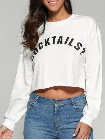 Buy Cocktails Cropped Printed Sweatshirt WHITE L