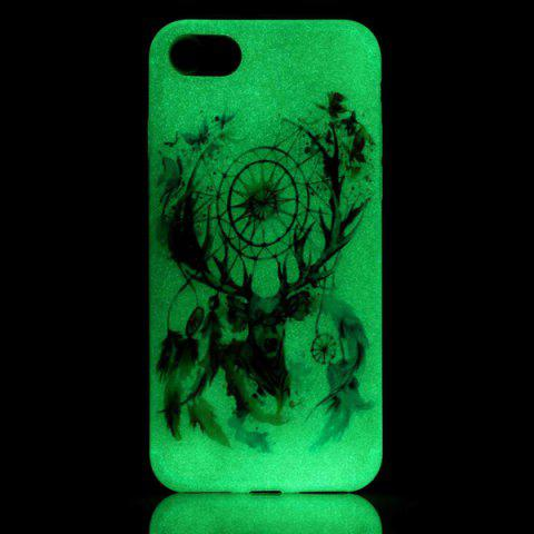 Trendy Deer Head TPU Silica Night Noctilucent Phone Back Case For iPhone 7 - TRANSPARENT  Mobile