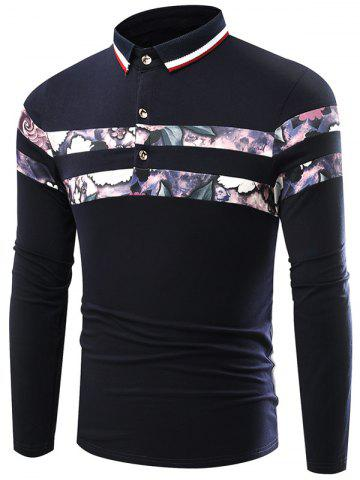 Affordable Floral Print Splicing Stripe Turn-Down Collar Long Sleeve T-Shirt