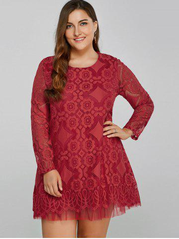Discount Openwork Lace A-Line Dress