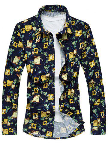 Shops Plus Size Abstract Floral Print Long Sleeve Shirt COLORMIX 6XL
