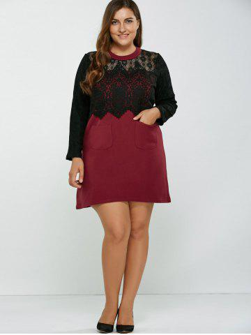 Chic Lace Patchwork Openwork Wool Dress