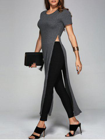 Online Ribbed Long High Slit Knitwear GRAY XL