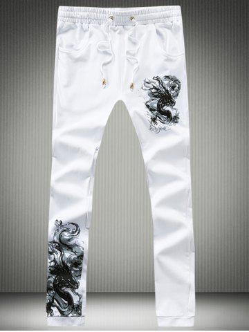 New Dragon Calligraphy Print Lace-Up Jogger Pants