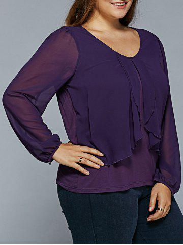 Hot Plus Size Sheer Sleeve Overlay Blouse