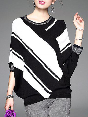 Latest Batwing Sleeve Contrast Striped Knitwear