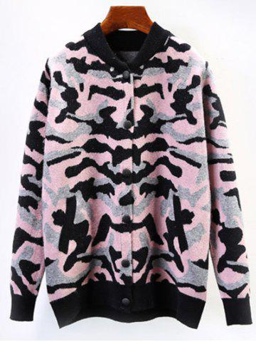 Affordable Camo Button-Down Fuzzy Cardigan