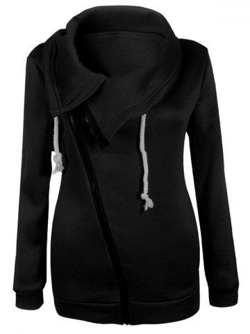 Outfit Inclined Zipper Pockets Sweatshirt - L BLACK Mobile
