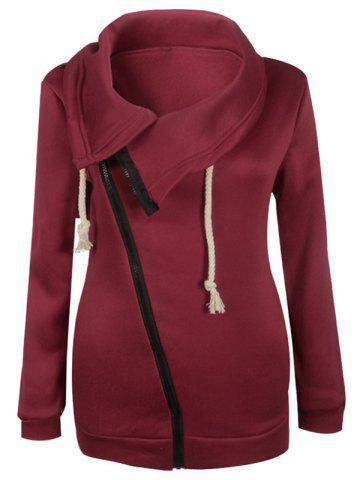 Latest Inclined Zipper Pockets Sweatshirt DEEP RED M