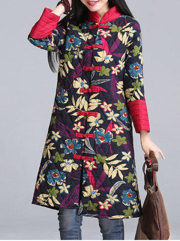 Trendy Flower Print Cheongsam Padded Coat
