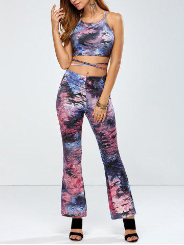 Outfits Strappy Backless Crop Top and Bell Bottom Printed Pants