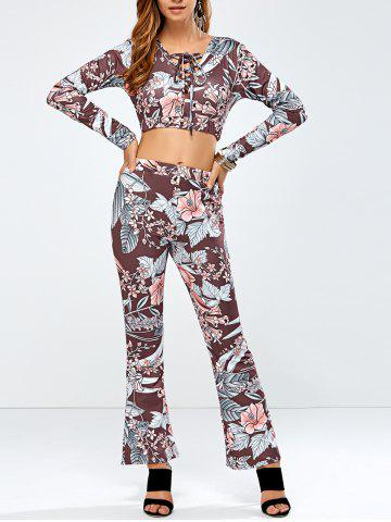 Outfit Printed Lace Up Crop Top and Bell Bottom Printed Pants
