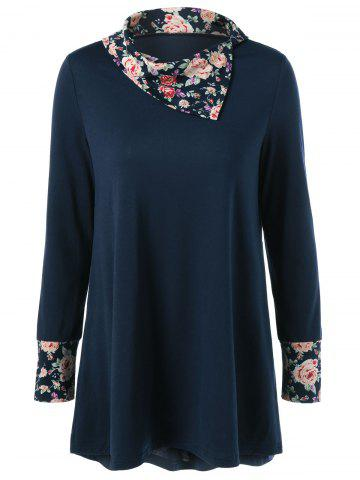 Shops Side Collar Floral Trim Blouse