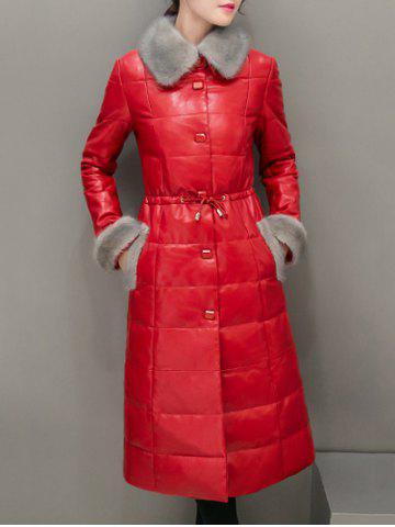 Fur Trim PU Leather Maxi Long Down Coat - Red - 2xl