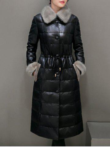 Outfits Fur Trim PU Leather Maxi Long Down Coat - M BLACK Mobile