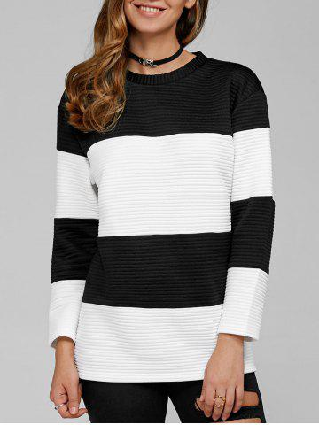 Hot Ribbed Sweatshirt - L WHITE AND BLACK Mobile