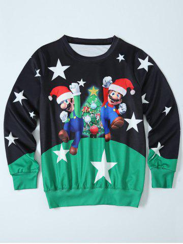Fancy Mario Color Block Christmas Sweatshirt BLACK AND GREEN L