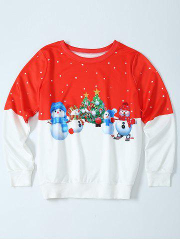 Best Snowman Christmas Pullover Sweatshirt - M RED WITH WHITE Mobile