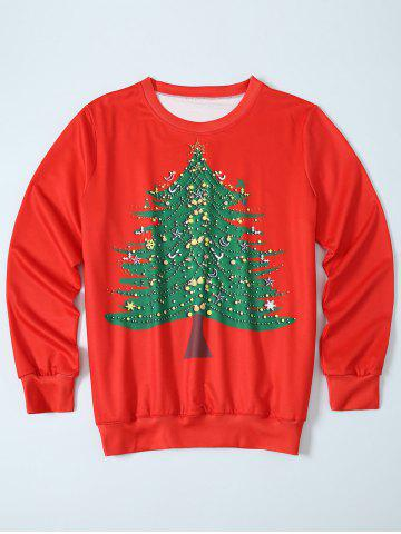 Online Christmas Tree Pullover Sweatshirt - XL RED Mobile