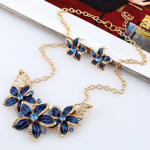 Latest Rhinestone Flower Necklace and Earrings - BLUE  Mobile