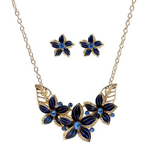Chic Rhinestone Flower Necklace and Earrings BLUE
