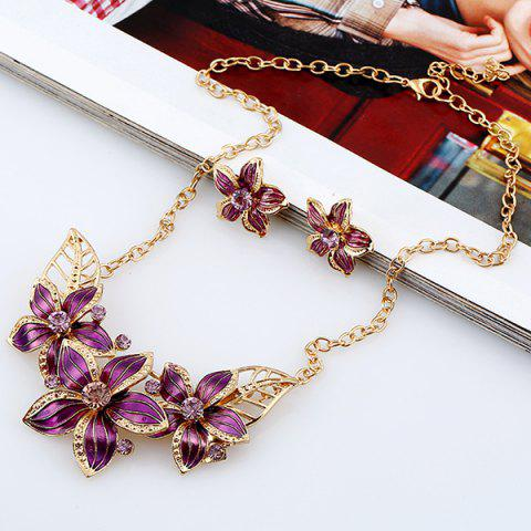 Latest Rhinestone Flower Necklace and Earrings PURPLE