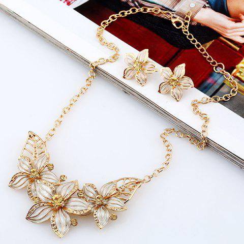 Store Rhinestone Flower Necklace and Earrings - WHITE  Mobile