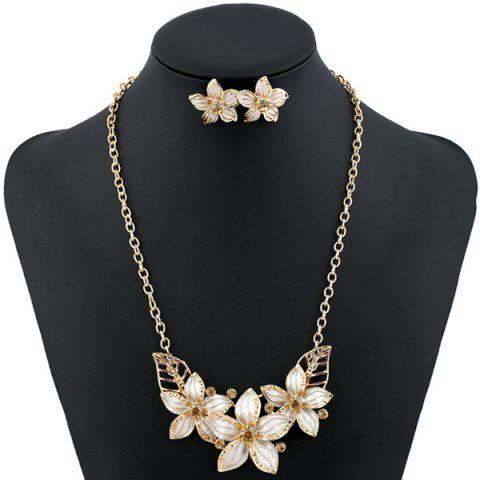 New Rhinestone Flower Necklace and Earrings