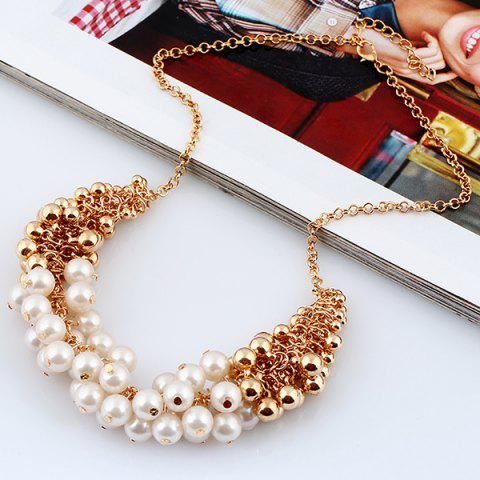 Online Faux Pearl Beaded Necklace - GOLDEN  Mobile