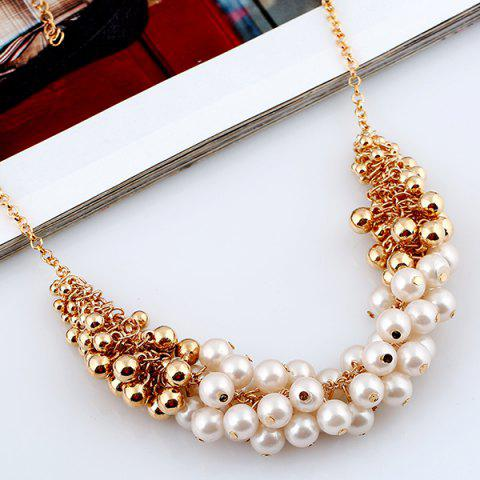 Discount Faux Pearl Beaded Necklace - GOLDEN  Mobile