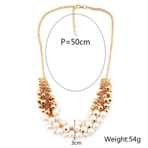 Affordable Faux Pearl Beaded Necklace - GOLDEN  Mobile
