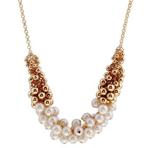 Outfit Faux Pearl Beaded Necklace - GOLDEN  Mobile
