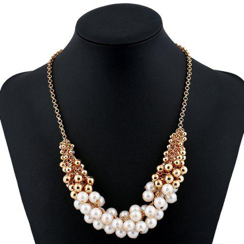 Faux Pearl Beaded Necklace - GOLDEN