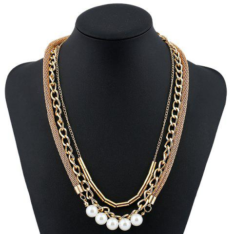 Outfit Faux Pearl Alloy Chain Layered Necklace