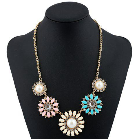 Online Rhinestone Faux Pearl Sunflower Pendant Necklace COLORMIX