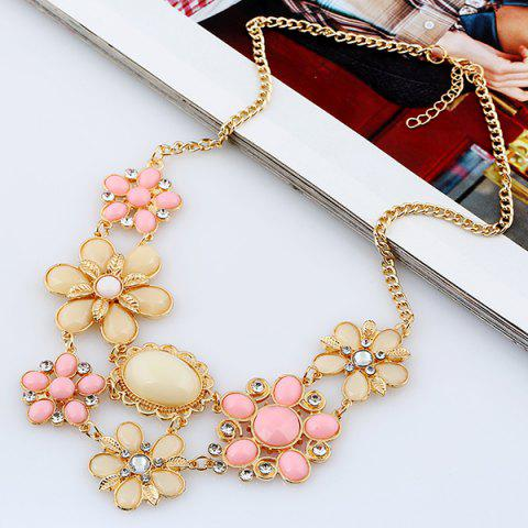 Chic Fake Gem Flower Statement Necklace PINK