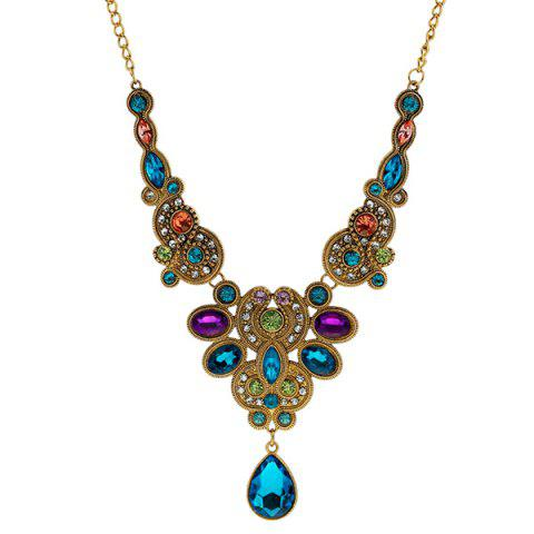 Fashion Faux Sapphire Amethyst Water Drop Necklace GOLDEN