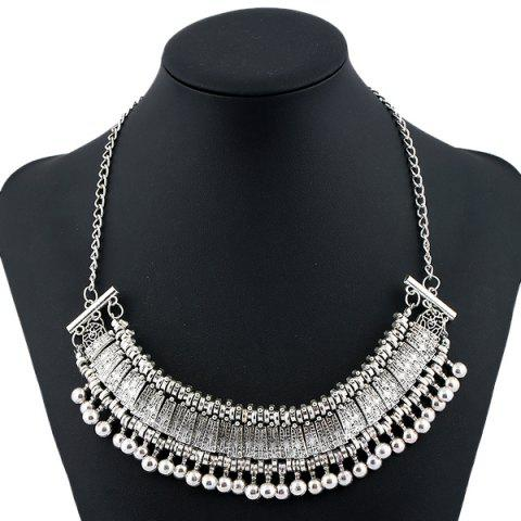 Chic Alloy Engraved Geometric Beaded Necklace SILVER
