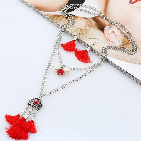 Latest Faux Pearl Tassel Layered Jewelry Set RED