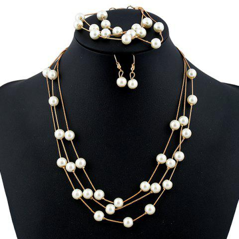 Hot Faux Pearl Bridal Necklace Earrings and Bracelet WHITE